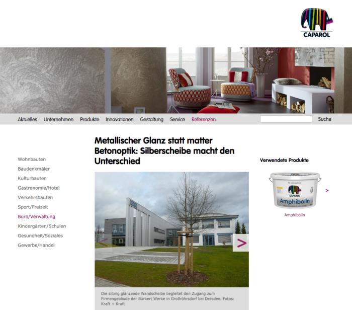Artikel auf caparol.de über Widmann Gruppe