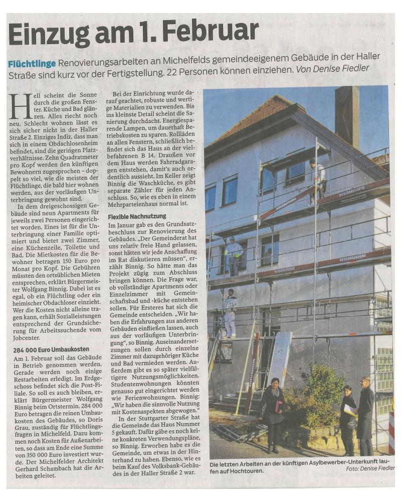 Flüchtlingsheim Widmann Gruppe Schwäbisch Hall